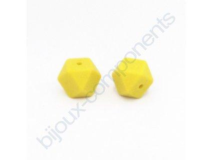 Silikonové korálky zkosené, citronově žluté, 14mm