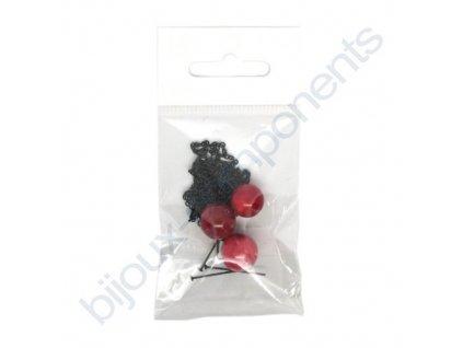 Set s korálky na výrobu sady náušnic a náhrdelníku - červený korál