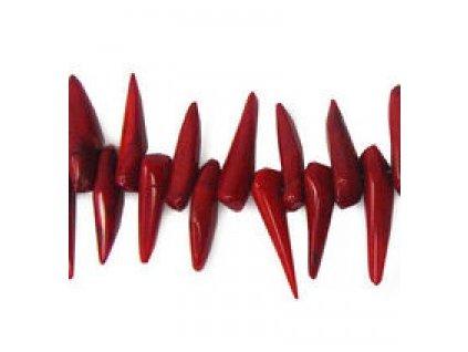Červený korál - barvený - dýkovitý tvar