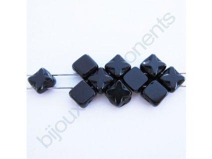 Dvoudírkové čtverečky Star, černé, 6x6mm