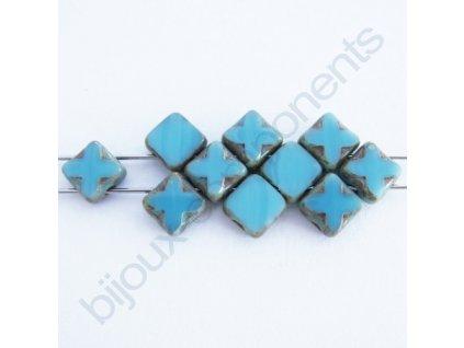 Dvoudírkové čtverečky Star, tyrkysové/travertin, 6x6mm