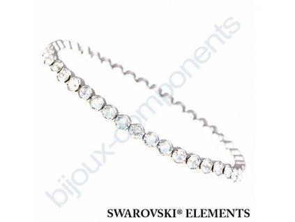 SWAROVSKI CRYSTALS elastický náramek, rhodiovaný, crystal AB, PP32