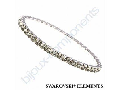 SWAROVSKI ELEMENTS elastický náramek, rhodiovaný, black diamond, 4mm
