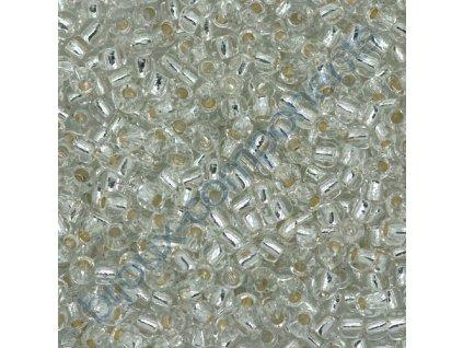 TOHO rokajl, Glow in The Dark, Perm.Finish Silver Lined Crystal-Green Splash, vel.2,2 mm, průtah 0,8 mm