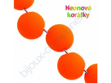 Neonové korálky s UV efektem, kuličky s asymetrickým průtahem, oranžové