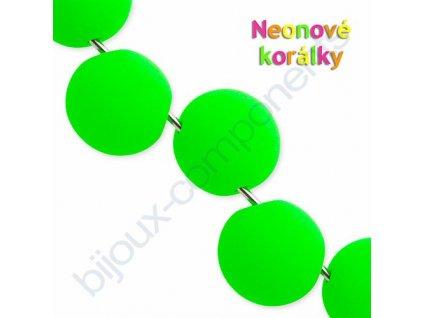 Neonové korálky s UV efektem, kuličky s asymetrickým průtahem, zelené