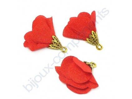 Ozdobný kvítek s kaplíkem, červený, vel. 25 mm