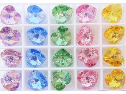 SWAROVSKI ELEMENTS přívěsek - srdce, mix barev, 10,3x10mm