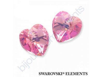 SWAROVSKI ELEMENTS přívěsek - srdce, light rose AB, 10,3x10mm