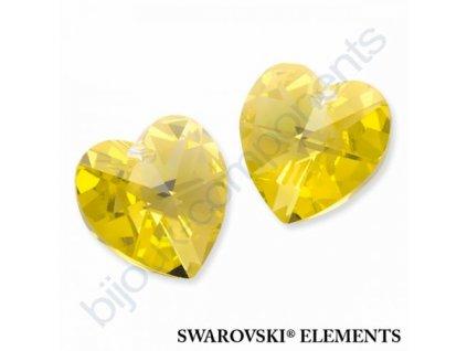 SWAROVSKI ELEMENTS přívěsek - srdce, light topaz AB, 10,3x10mm