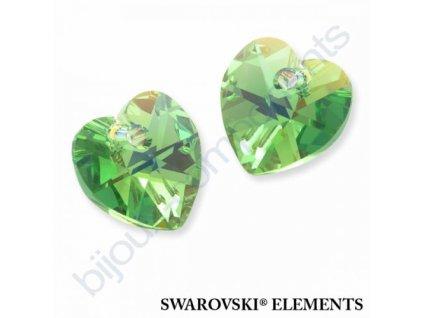 SWAROVSKI ELEMENTS přívěsek - srdce, peridot AB, 10,3x10mm