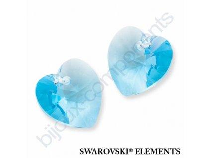 SWAROVSKI ELEMENTS přívěsek - XILION srdce, aquamarine, 14,4x14mm