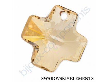 SWAROVSKI ELEMENTS přívěsek - křížek, crystal golden shadow, 20mm