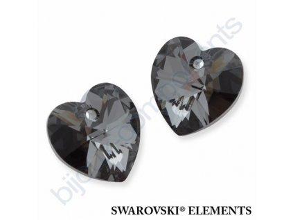 SWAROVSKI ELEMENTS přívěsek - XILION srdce, crystal silver night, 14,4x14mm
