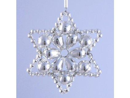 Rukodělná stavebnice - vánoční hvězda stříbrná, cca 6x6cm