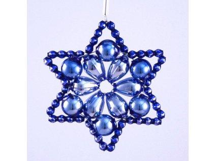 Rukodělná stavebnice - vánoční hvězda modrá, cca 6x6cm