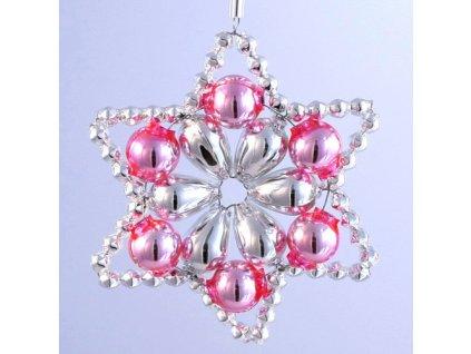 Rukodělná stavebnice - vánoční hvězda stříbrná/růžová, cca 6x6cm