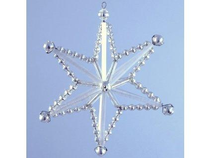 Rukodělná stavebnice - vánoční hvězda stříbrná, cca 8,5 x 8,5 x 3,5 cm