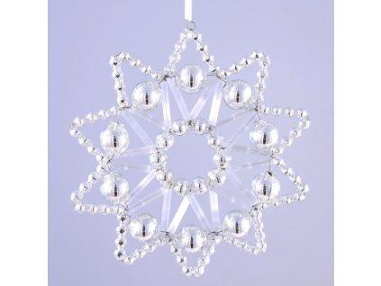 Rukodělná stavebnice - vánoční hvězda stříbrná, cca 8x8 cm