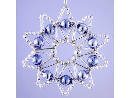 Rukodělná stavebnice - vánoční hvězda stříbrná/modrá, cca 8x8 cm