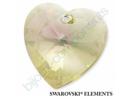 SWAROVSKI ELEMENTS přívěsek - XILION srdce, crystal lumin green, 28mm