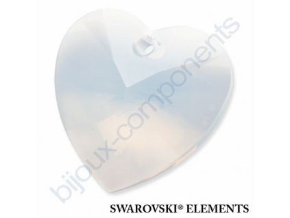 SWAROVSKI ELEMENTS přívěsek - XILION srdce, white opal, 28mm