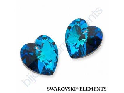 SWAROVSKI CRYSTALS přívěsek - XILION srdce, crystal bermuda blue, 10,3x10mm