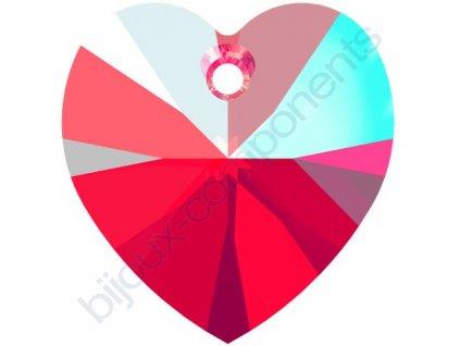 SWAROVSKI CRYSTALS přívěsek - XILION srdce, light siam shimmer effect, 10,3x10mm