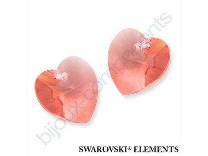 SWAROVSKI ELEMENTS přívěsek - XILION srdce, rose peach, 10,3x10mm
