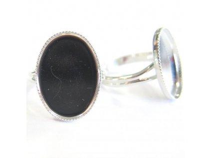 Prsten nastavitelný s kotlíkem (lůžkem) cca 18X13mm, min. vnitřní průměr cca 17mm