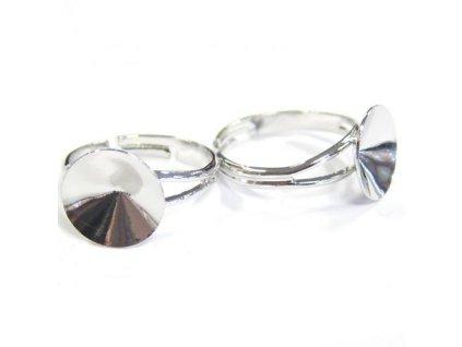 Prsten nastavitelný s kotlíkem na rivoli 1122 12mm, min. vnitřní průměr cca 17mm