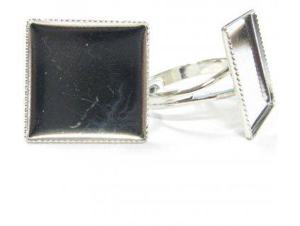 Prsten nastavitelný s kotlíkem (lůžkem) cca 20x20mm, min. vnitřní průměr cca 17mm