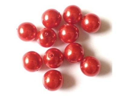 Skleněné voskované perle, červená - díky složitým technologickým procesům při výrobě, nelze zajistit stejný odstín barev u jednotlivých velikostí.