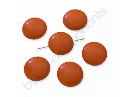Skleněné voskované korálky, lentilky, neonově oranžová