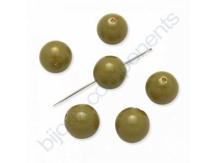 Skleněné voskované korálky,kuličky, olivově zelené
