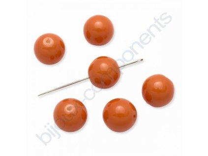 Skleněné voskované korálky,kuličky, neonově oranžové