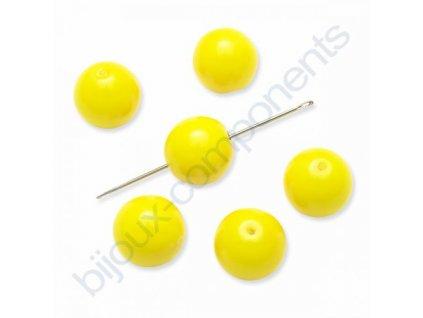 Skleněné voskované korálky,kuličky, neonově žluté