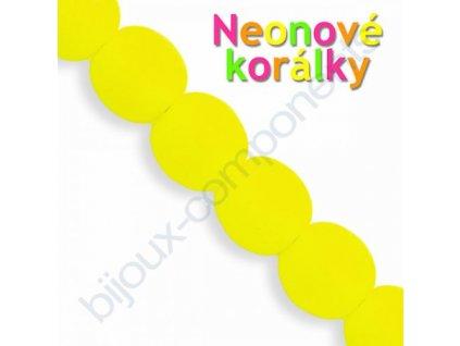 Neonové korálky s UV efektem, kuličky, žluté
