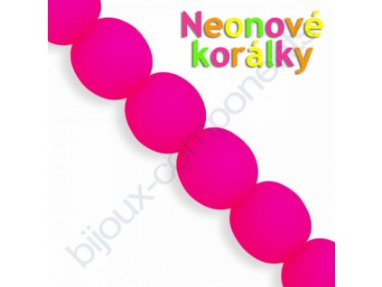Neonové korálky s UV efektem, kuličky, růžové