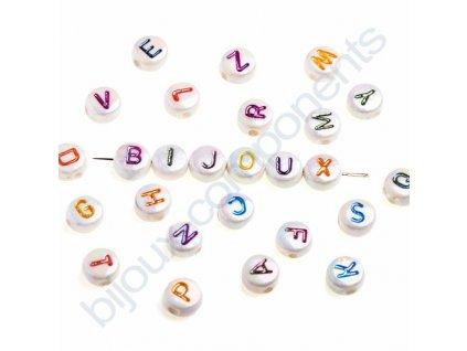 Akrylové korálky s písmenky, bílé korálky s pokovem AB / barevná písmenka
