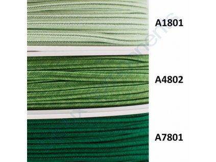 Sutaška, 3mm, 100% viskóza - zelené odstíny