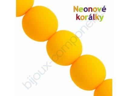 Neonové korálky s UV efektem, kuličky, světle oranžové