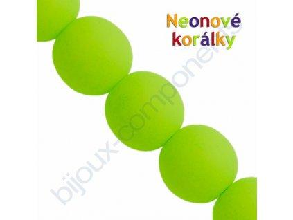 Neonové korálky s UV efektem, kuličky, světle zelené