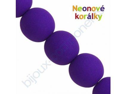 Neonové korálky s UV efektem, kuličky, tmavě fialové