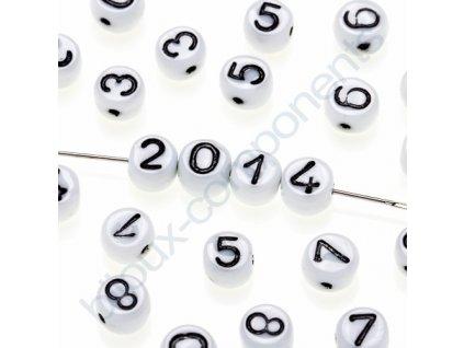 Skleněné korálky s čísly, bílé korálky / černá čísla