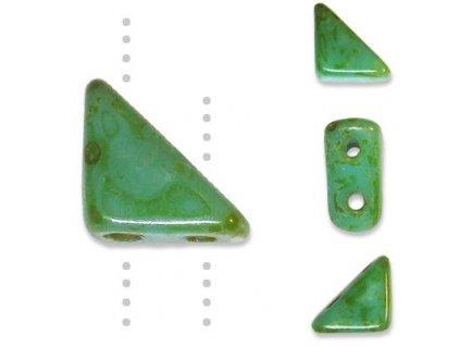 Skleněné korálky mačkané, TANGO BEAD cca 6mm/ zelená/travertin