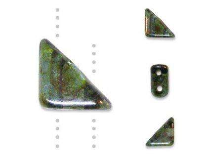 Skleněné korálky mačkané, TANGO BEAD cca 6mm/ krystal/zelený pokov