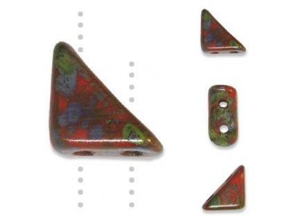 Skleněné korálky mačkané, TANGO BEAD cca 6mm/ oranžová/travertin