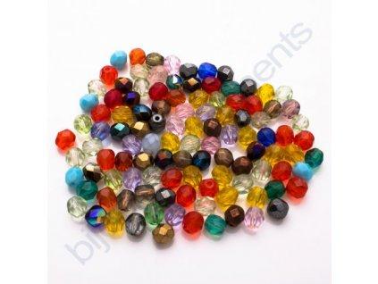 Ohňové korálky barvené, cca 6mm,mix barev
