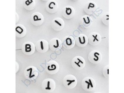 Akrylové korálky s písmenky, bílé korálky / černá písmenka